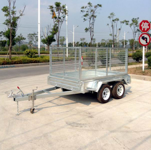 Hot-dip galvanizing 8x5 Tandem axle trailer with cage